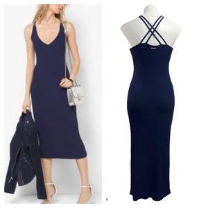 Michael Michael Kors Navy Ribbed Knit  Maxi Dress